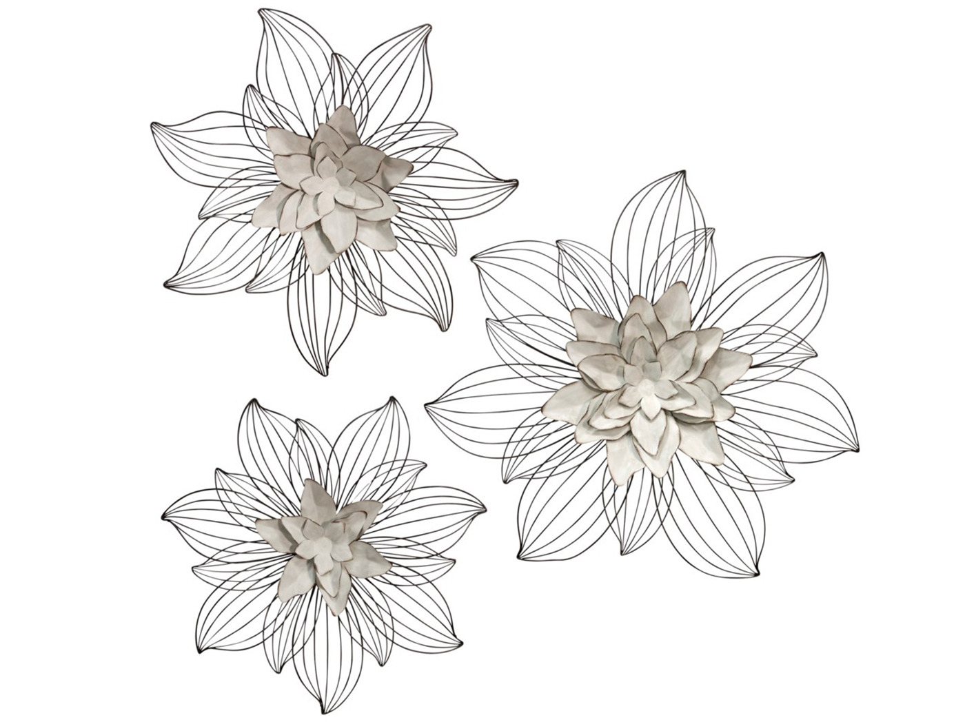 """Fashionable Set Of 3 Cream Metal Flowers Wall Decor 20""""/24""""/27"""" (View 7 of 20)"""