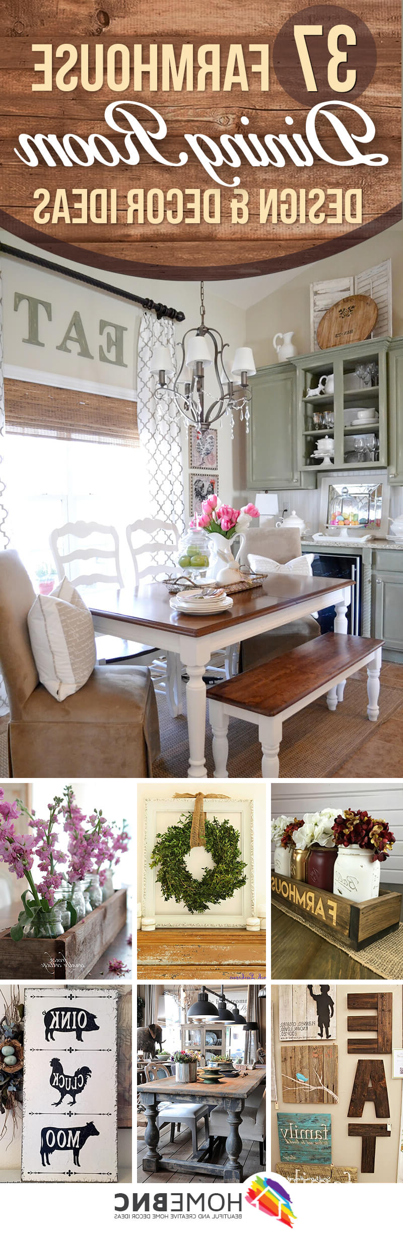 Favorite Casual Country Eat Here Retro Wall Decor With 37 Best Farmhouse Dining Room Design And Decor Ideas For  (View 12 of 20)