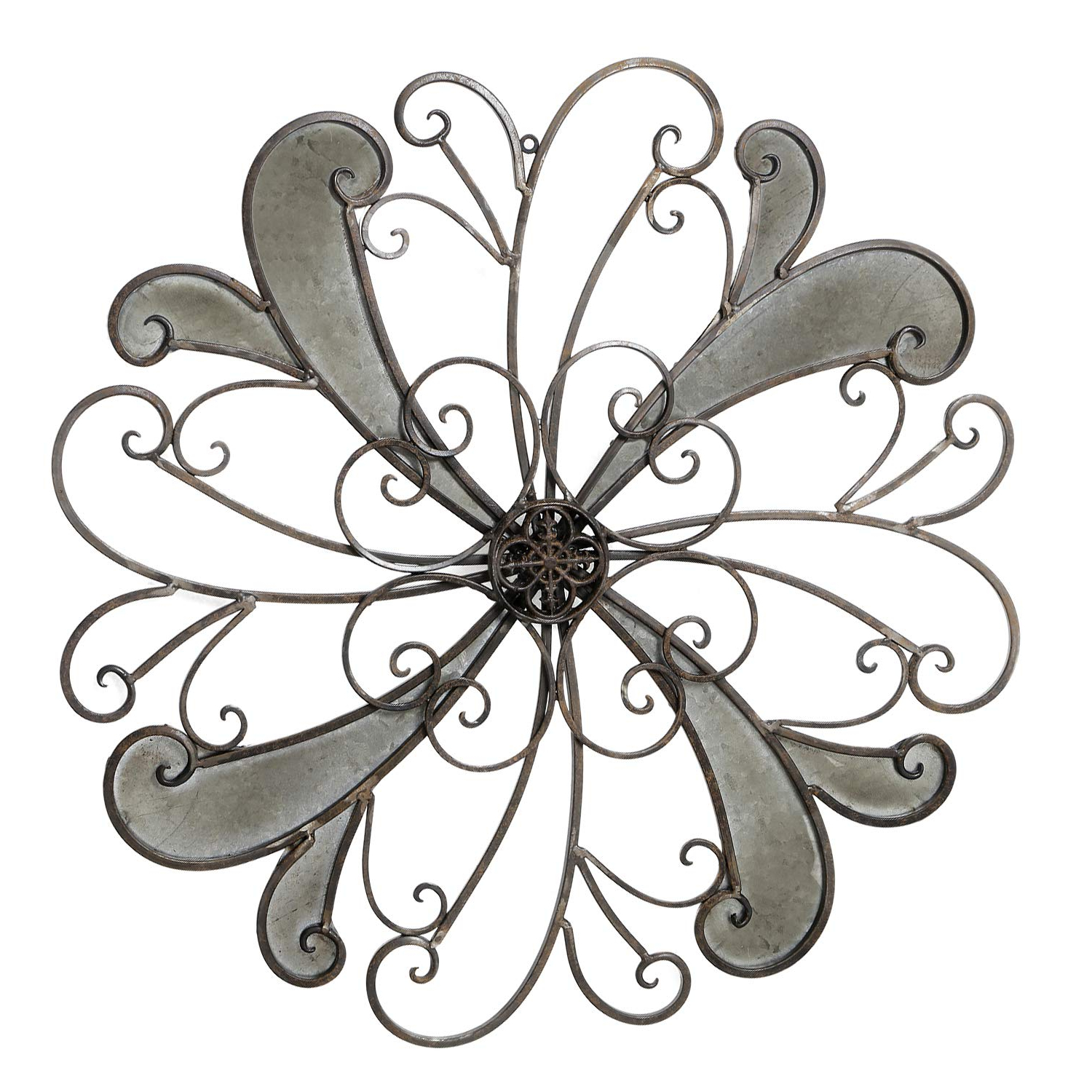 Favorite Flower Urban Design Metal Wall Decor Intended For Amazon: Adeco Rustic Urban Flower Scrolled Design, Metal Wall (View 10 of 20)