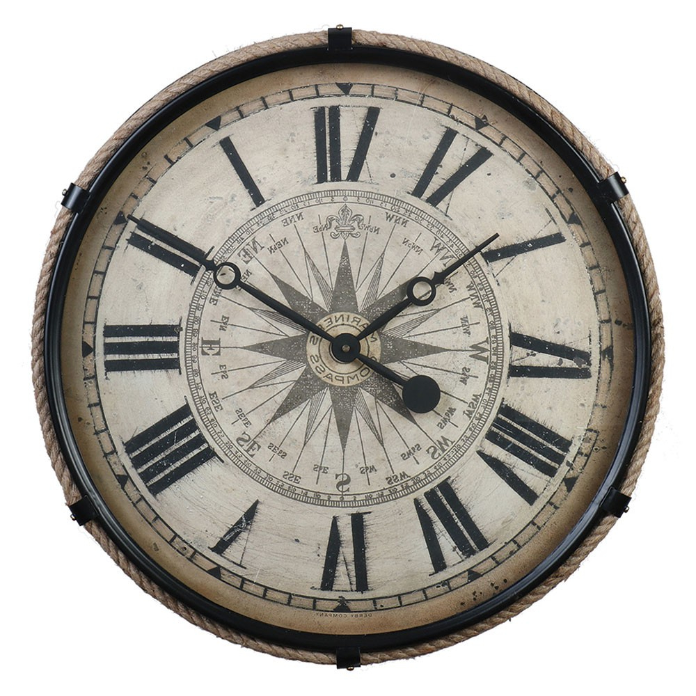 Favorite Large Compass Wall Clock – Black – Nautical Rope (View 9 of 20)