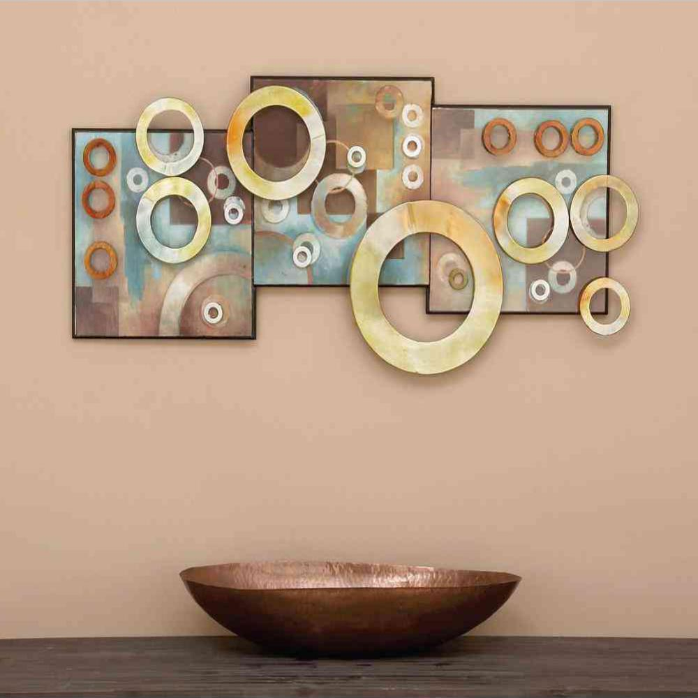 Favorite Litton Lane 36 In. X 17 In. Contemporary Multicolored Iron Geometric Within 3 Piece Magnolia Brown Panel Wall Decor Sets (Gallery 13 of 20)