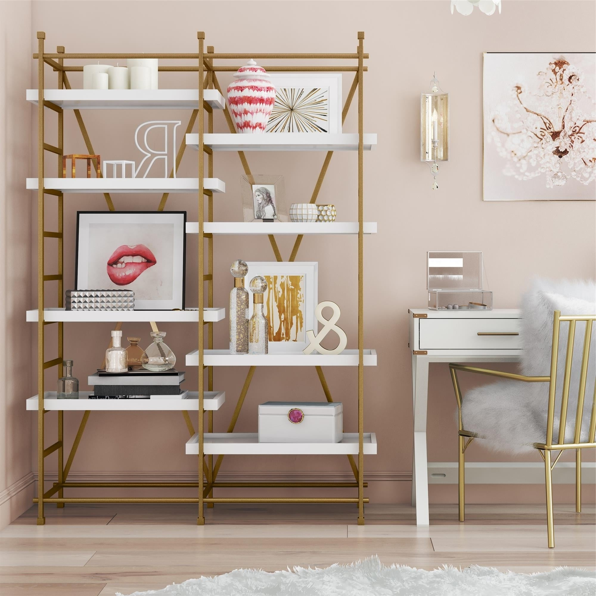 Favorite Shop Cosmoliving Yves Goldtone Metal/white Wood Bookcase Etagere Regarding Metal Wall Decor By Cosmoliving (View 6 of 20)