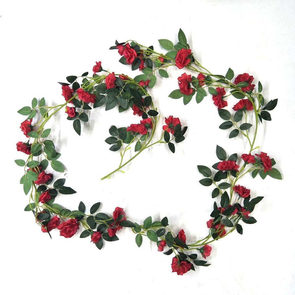 Favorite Three Flowers On Vine Wall Decor Pertaining To Fliyeong Artificial Silk Rose Flower Ivy Vine Leaf Garlands Home (View 5 of 20)