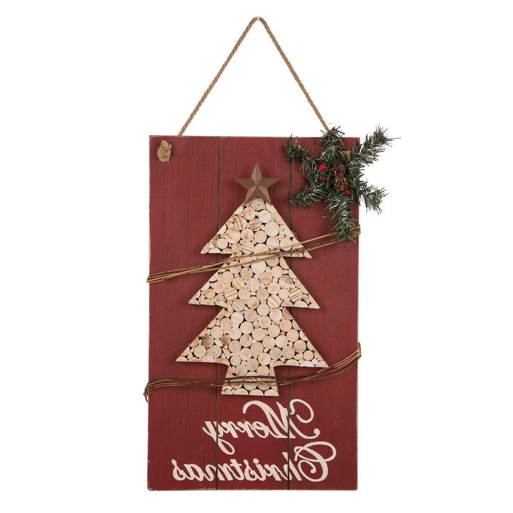 "Favorite Tree Welcome Sign Wall Decor Intended For Glitzhome 20""h Wooden Christmas Tree Welcome Hanging Wall Sign (View 18 of 20)"