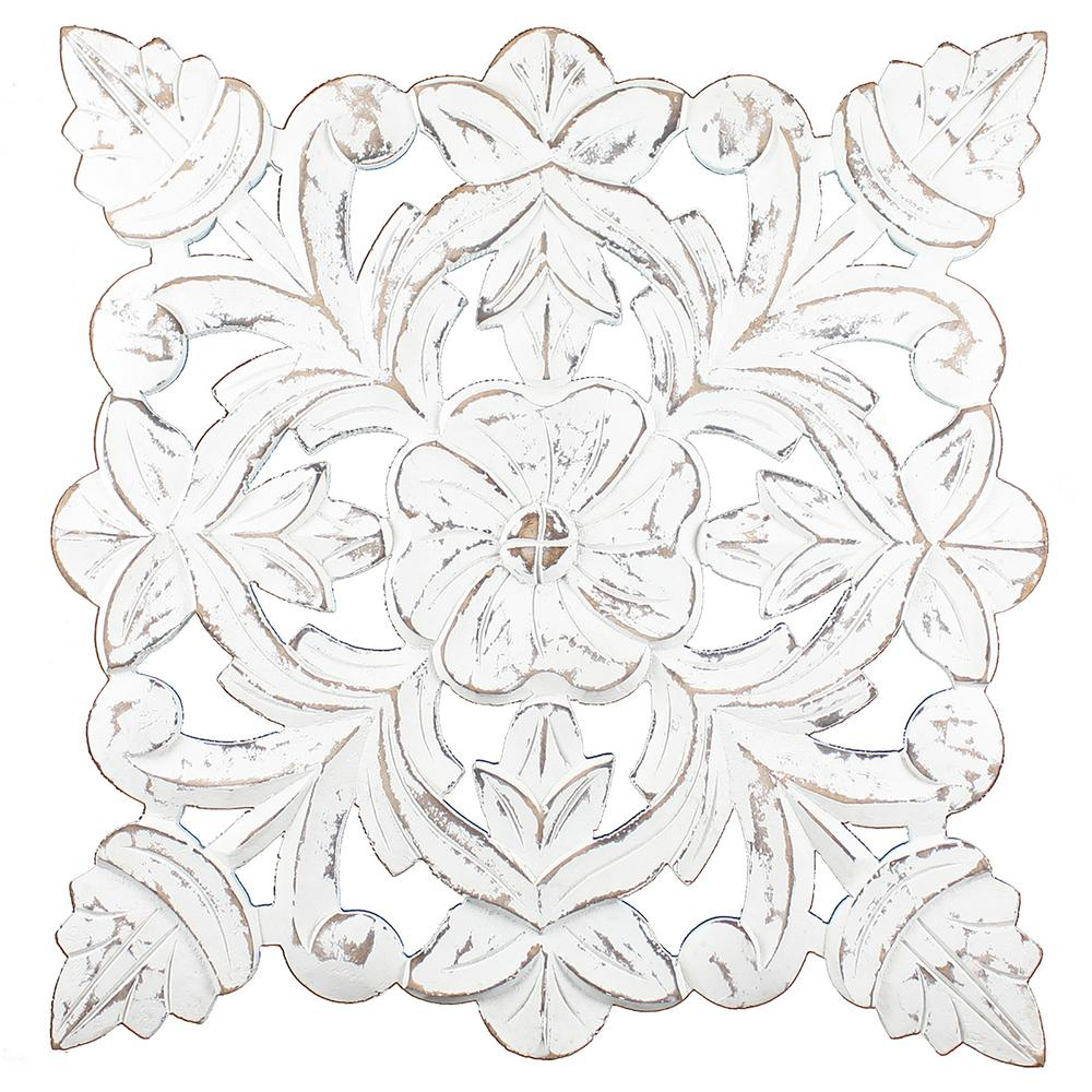 Fetco Toan White Carved Wood Medallion Wall Art X401366 – The Home Depot With Regard To Well Known Small Medallion Wall Decor (View 3 of 20)