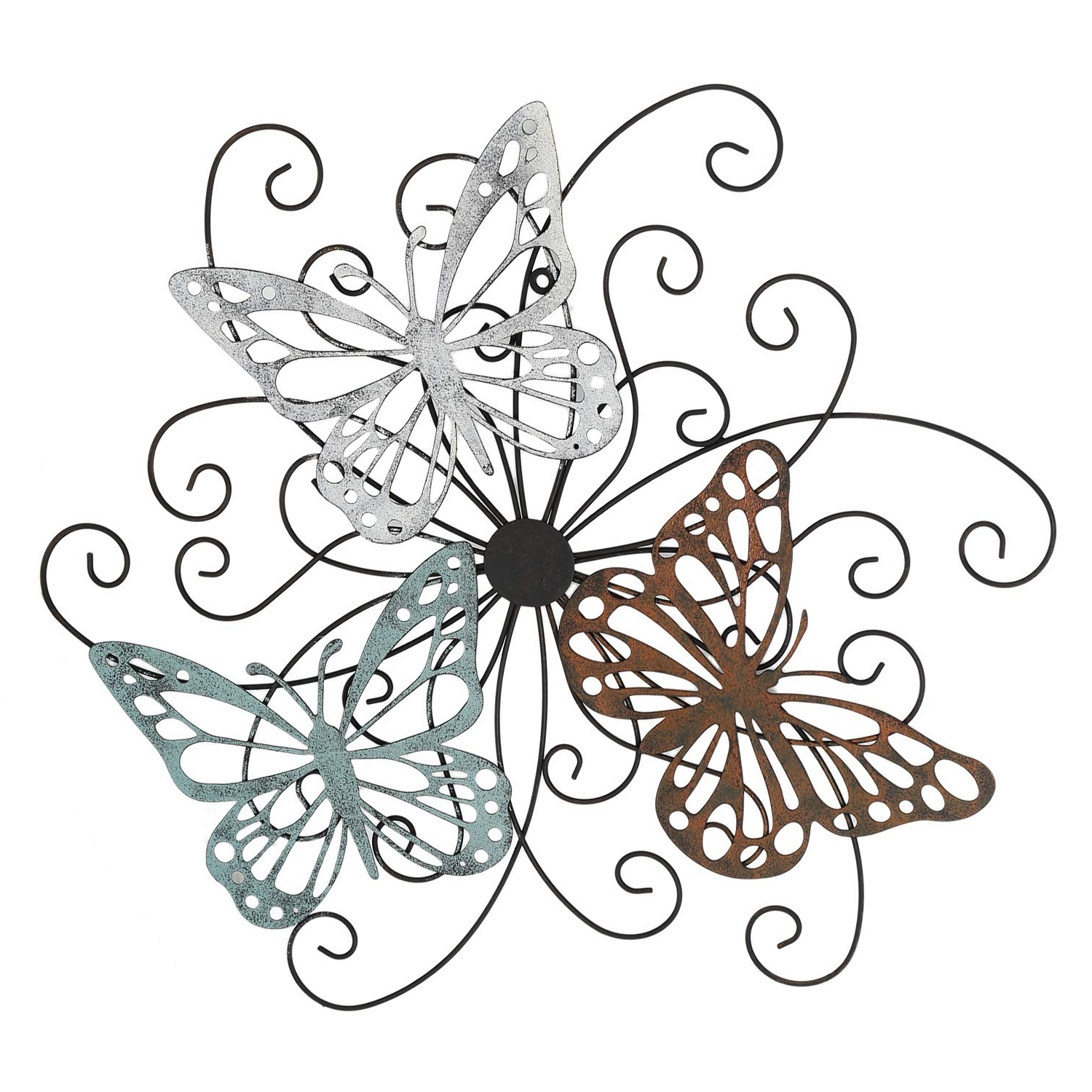 Flower And Butterfly Urban Design Metal Wall Decor In Fashionable Amazon: Asense Home Decorative Metal Butterfly Wall Decor (View 8 of 20)
