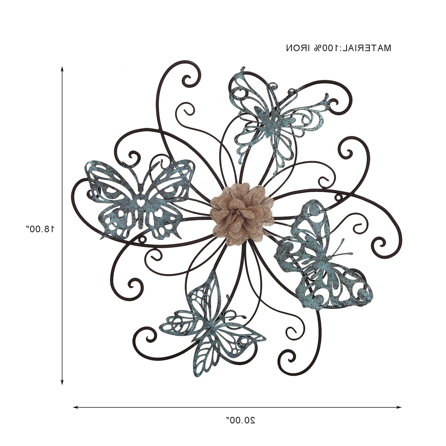 Flower And Butterfly Urban Design Metal Wall Decor Regarding Fashionable Amazon: Home's Art Flower And Butterfly Urban Design Metal Wall (View 3 of 20)