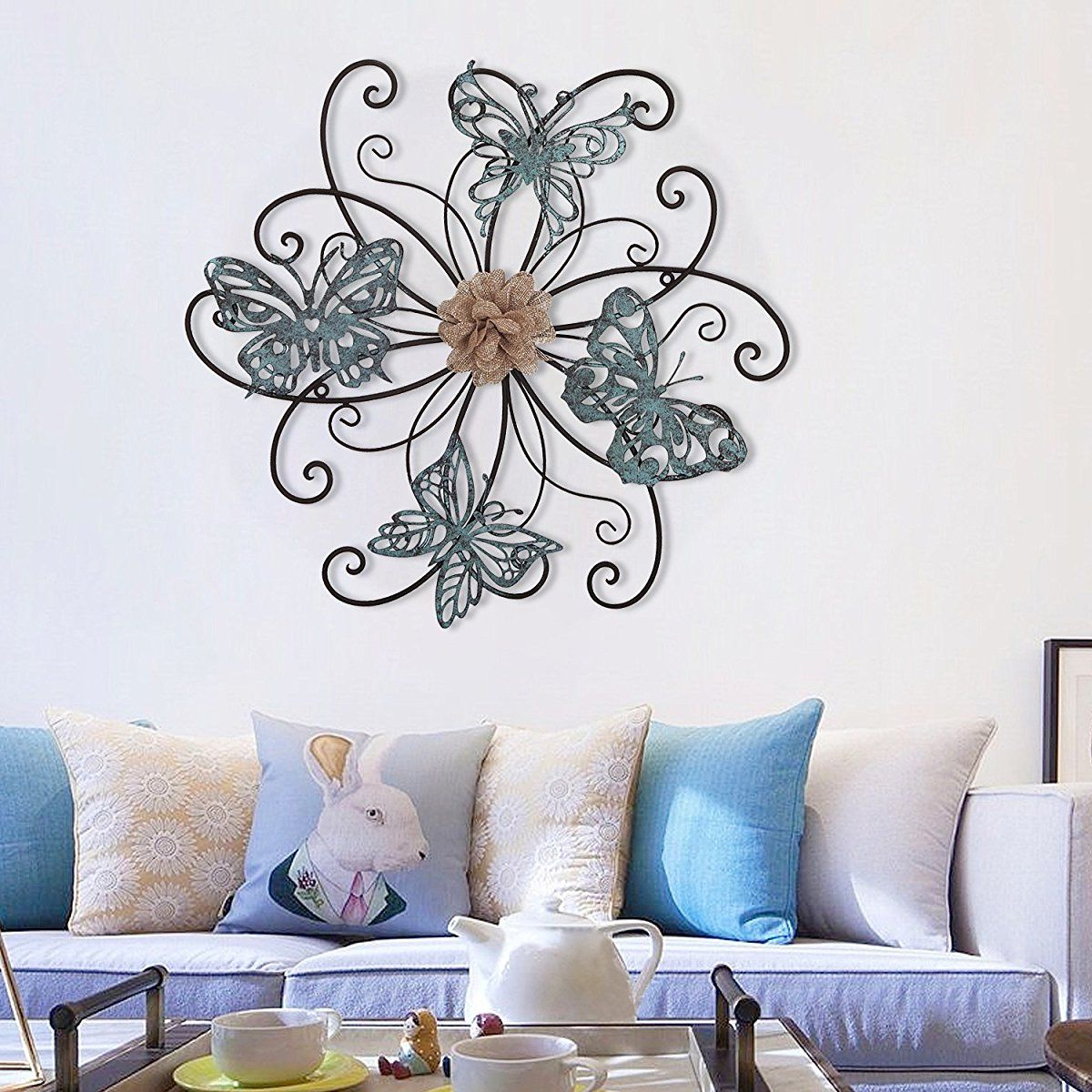 Flower And Butterfly Urban Design Metal Wall Decor Regarding Most Recent Homes Art Flower And Butterfly Urban Design Metal Wall Decor For (View 9 of 20)