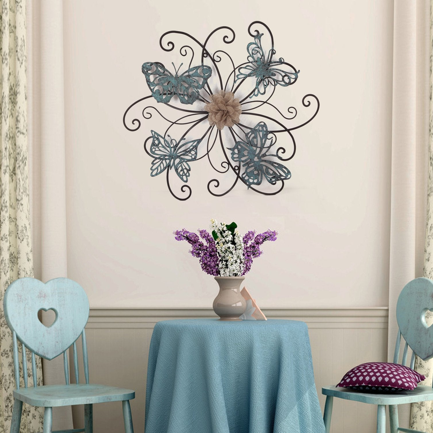 Flower Urban Design Metal Wall Decor Inside Current Shop Adeco Flower And Butterfly Urban Design Metal Wall Decor For (View 11 of 20)