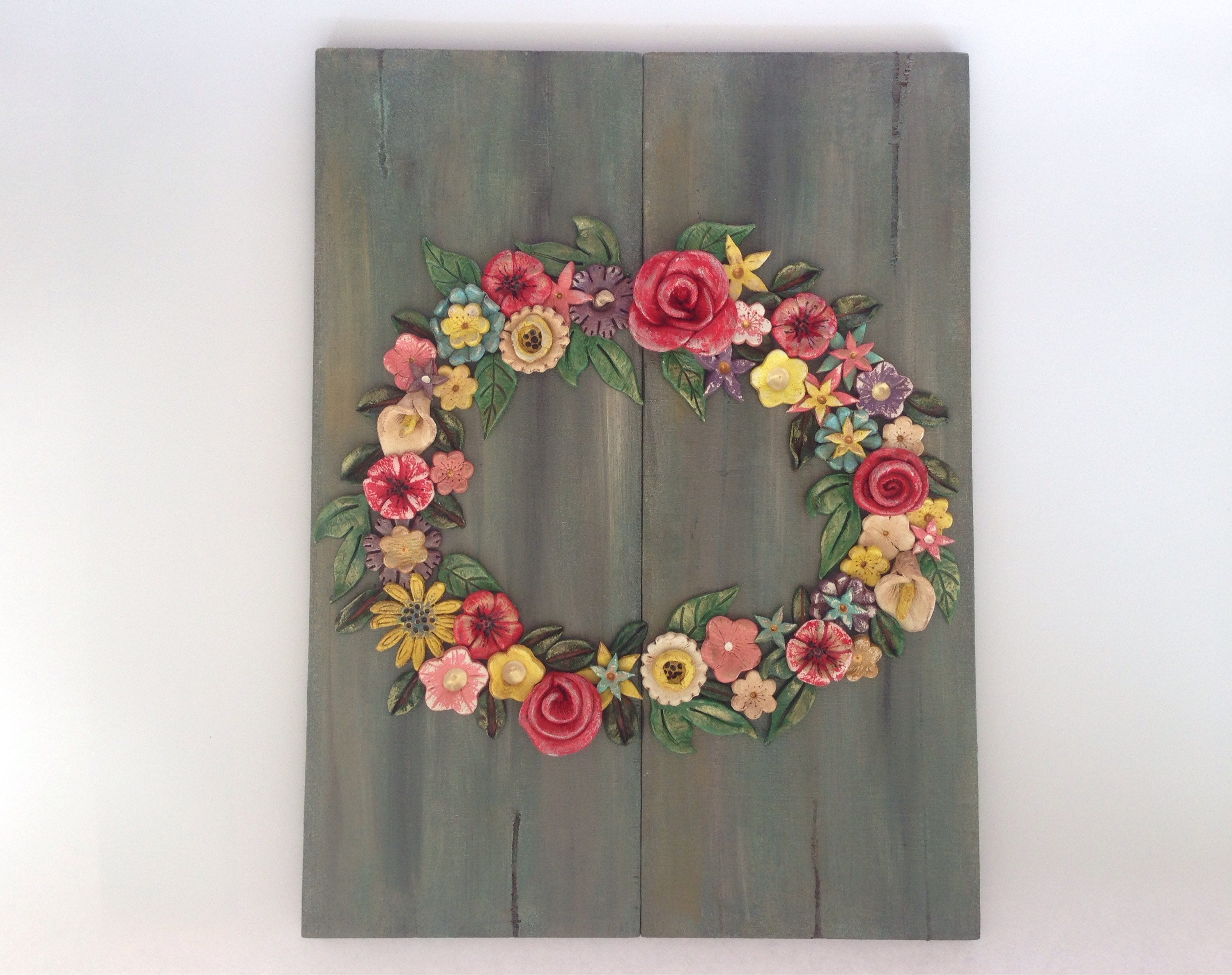 Flower Wreath Ceramic Wreath Clay Wreath On Wood Romantic (View 8 of 20)