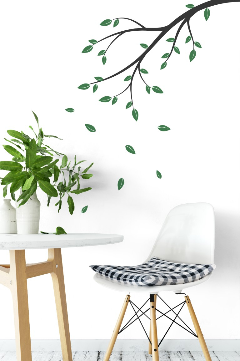 Flowing Leaves Wall Decor With Current Branches With Falling Leaves Wall Sticker (View 16 of 20)