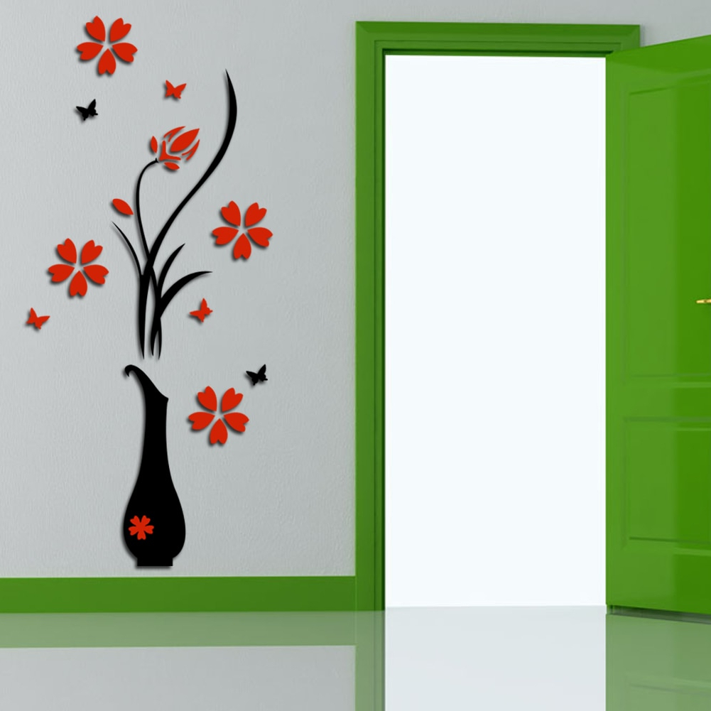 Fresh Flower Wall Stickers Acrylic 3D Plum Flower Vase Wall Stickers In Most Recently Released Floral Patterned Over The Door Wall Decor (Gallery 11 of 20)