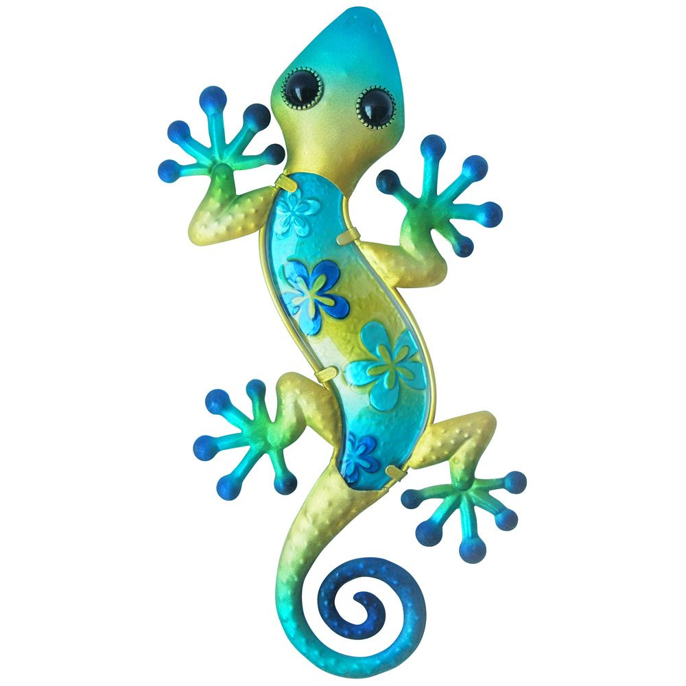 "Gecko Wall Decor For 2019 Amazon: Comfy Hour 14"" Blue Metal Art Gecko Wall Decor: Home (View 12 of 20)"