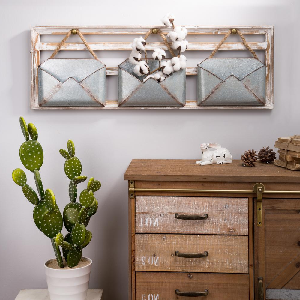 Glitzhome 35.5 In. L Farmhouse Wooden Wall Decor With Galvanized Regarding Popular 2 Piece Multiple Layer Metal Flower Wall Decor Sets (Gallery 16 of 20)