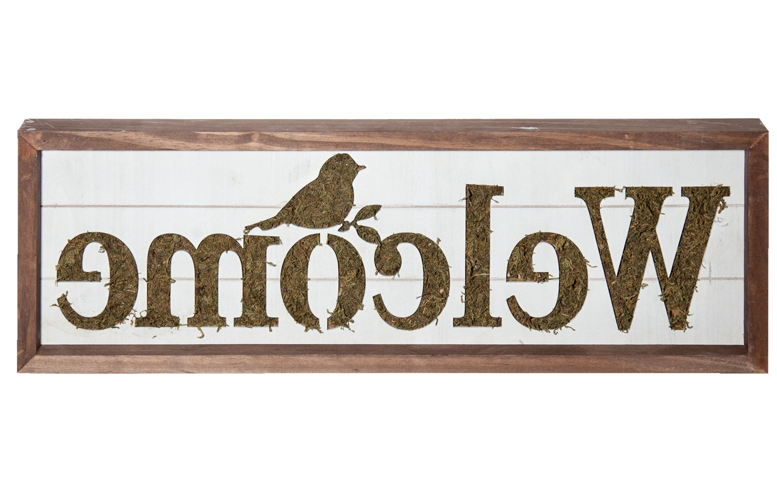 """In A Word """"welcome"""" Wall Decor In Newest Gracie Oaks Welcome Sign With Moss Accent Wall Décor (Gallery 7 of 20)"""