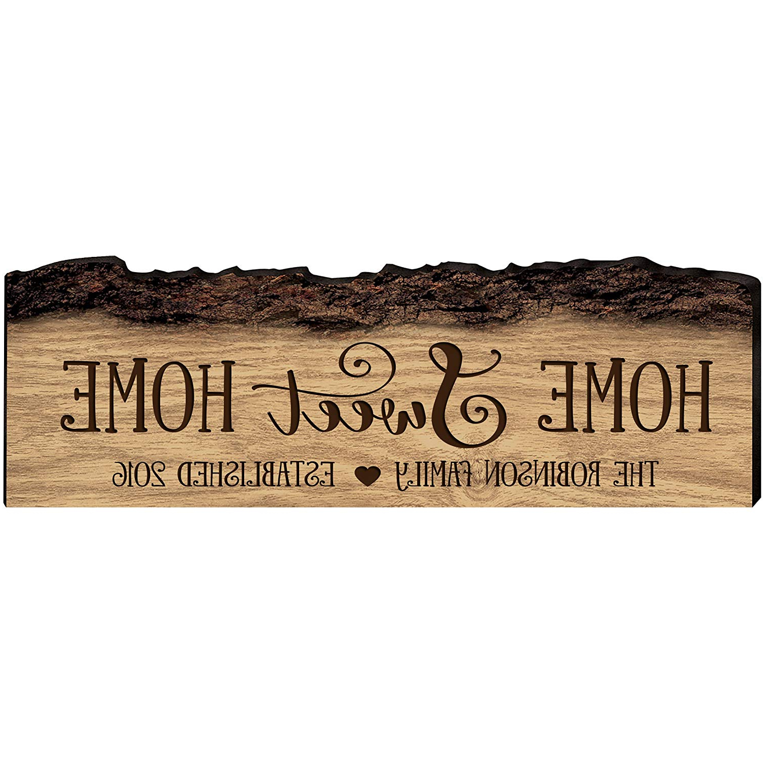 Laser Engraved Home Sweet Home Wall Decor Inside Recent Amazon: Lifesong Milestones Personalized Custom Family Name Sign (Gallery 6 of 20)