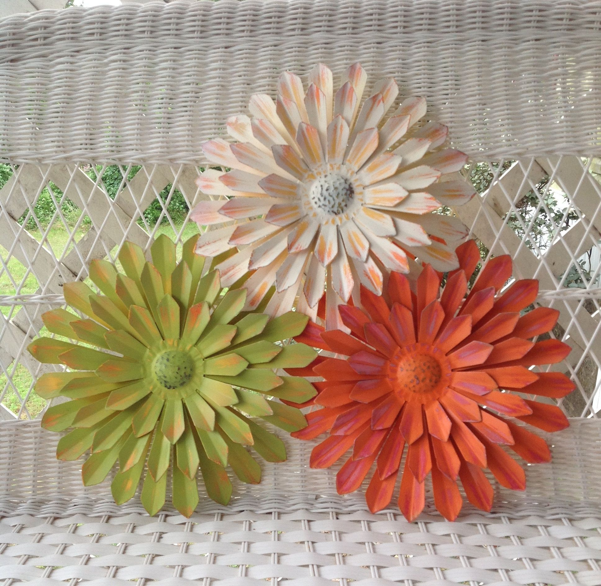 "Latest 12"" Metal Flowers – Wall & Fence Decor – Set Of 3 White/orange/green With Regard To Metal Flower Wall Decor (Set Of 3) (Gallery 5 of 20)"