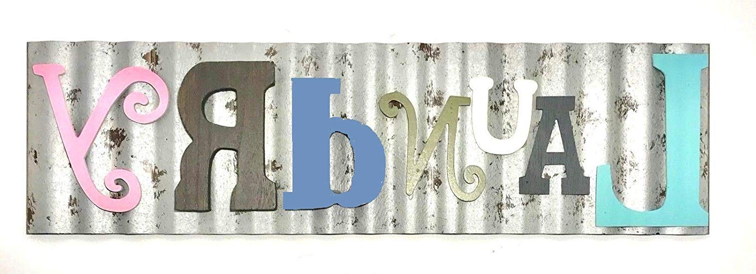 Latest Amazon: Generic Laundry Galvanized Metal Colorful Wooden Letters Inside Metal Laundry Room Wall Decor (Gallery 15 of 20)