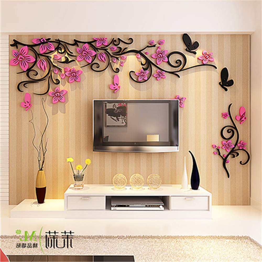 Latest Flower Vine 3D Three Dimensional Acrylic Wall Stickers Living Room Inside Three Flowers On Vine Wall Decor (View 7 of 20)