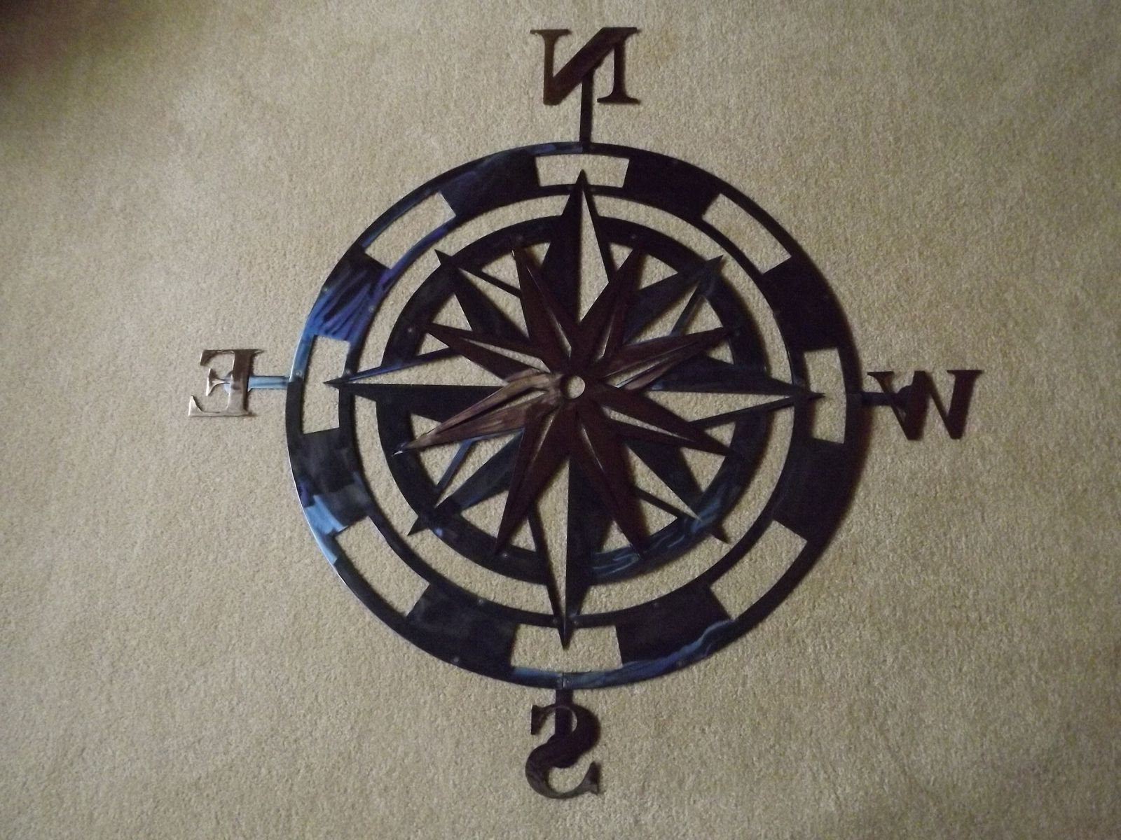 Latest Handmade 36 Inch Metal Compass Rose Wall Artsuperior Iron Artz With Outdoor Metal Wall Compass (Gallery 14 of 20)