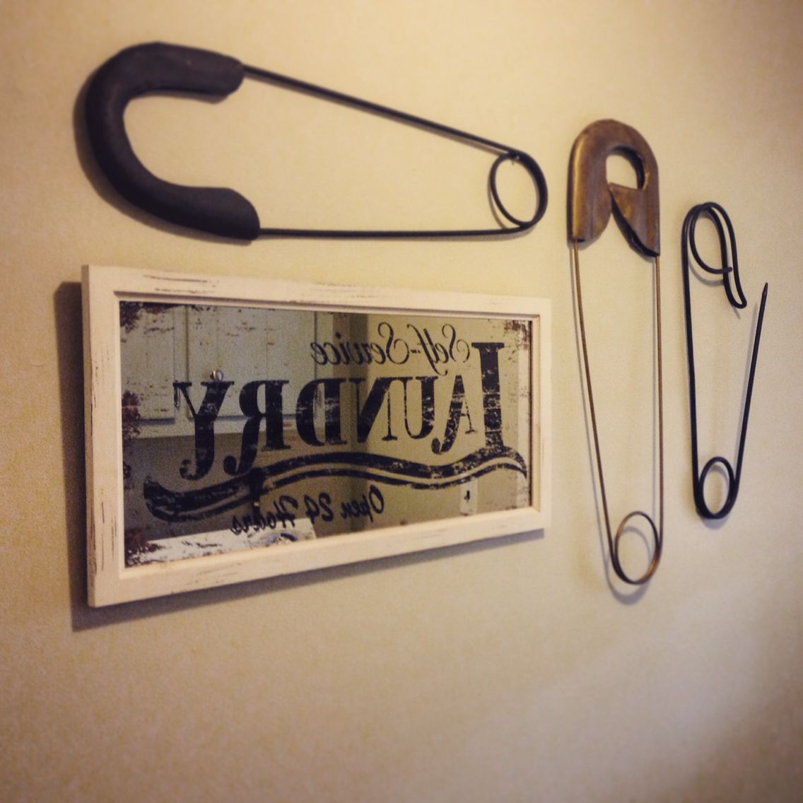 Laundry Room Wall Decor Large Safety Pins And Mirror (View 6 of 20)