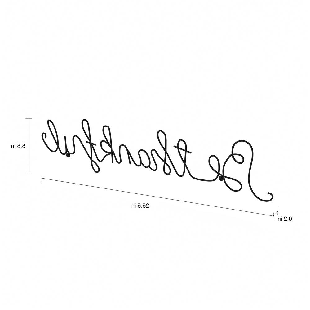 "Lavish Home ""be Thankful"" Metal Cutout Sign Hw0200042 – The Home Depot Regarding Well Known Choose Happiness 3D Cursive Metal Wall Decor (View 11 of 20)"