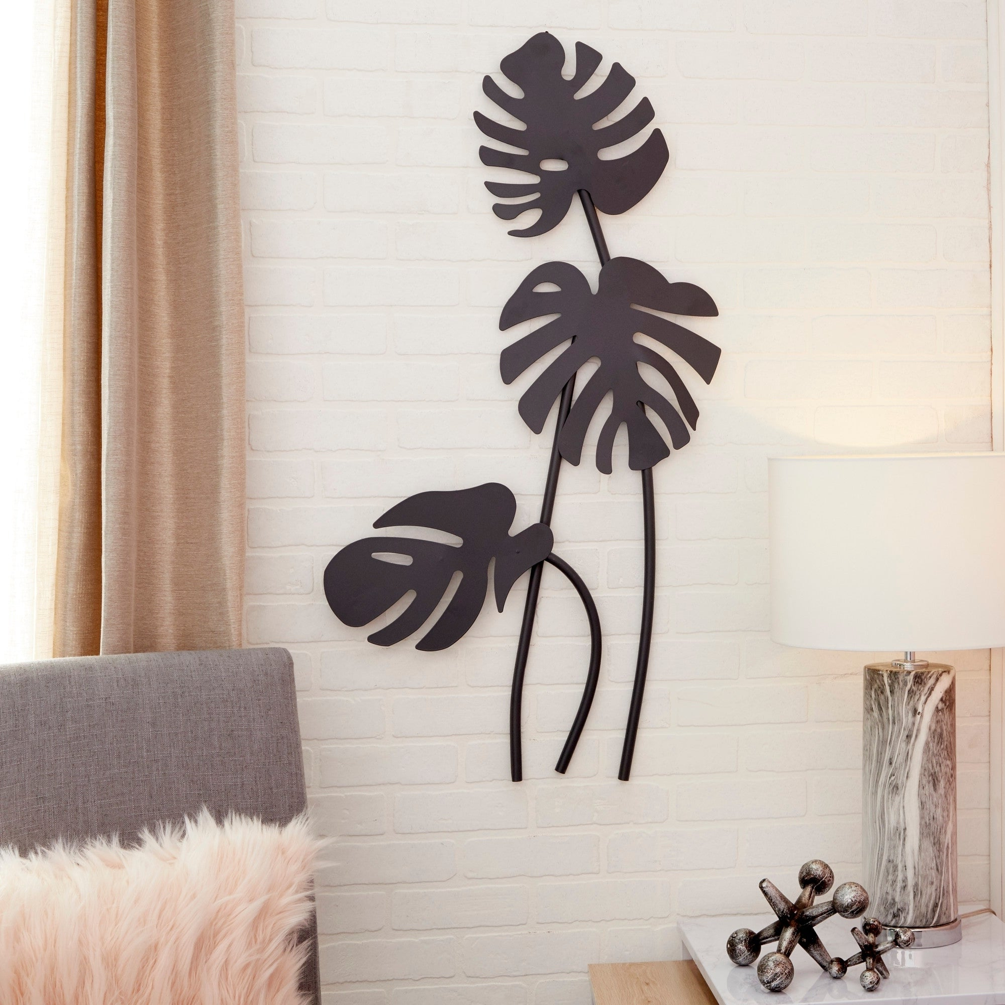 """Leaves Metal Sculpture Wall Decor Pertaining To Favorite Shop Large Black Palm Leaf Sculptures Metal Wall Decor 21"""" X  (View 7 of 20)"""