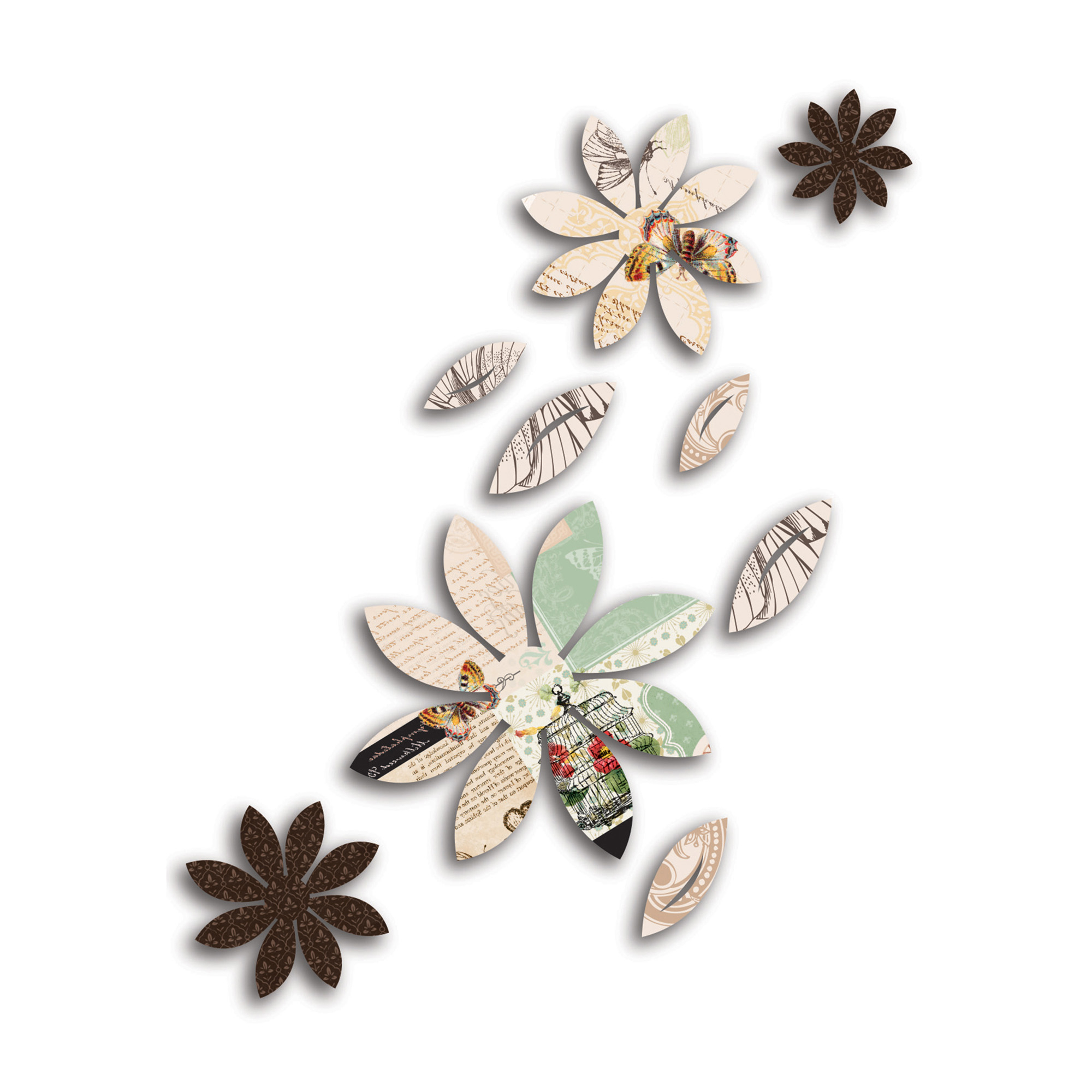 Mariposa 9 Piece Wall Decor Inside Fashionable 3D Wall Decor Brown Flowers With Mariposa Print, 9 Piece – Walmart (View 14 of 20)