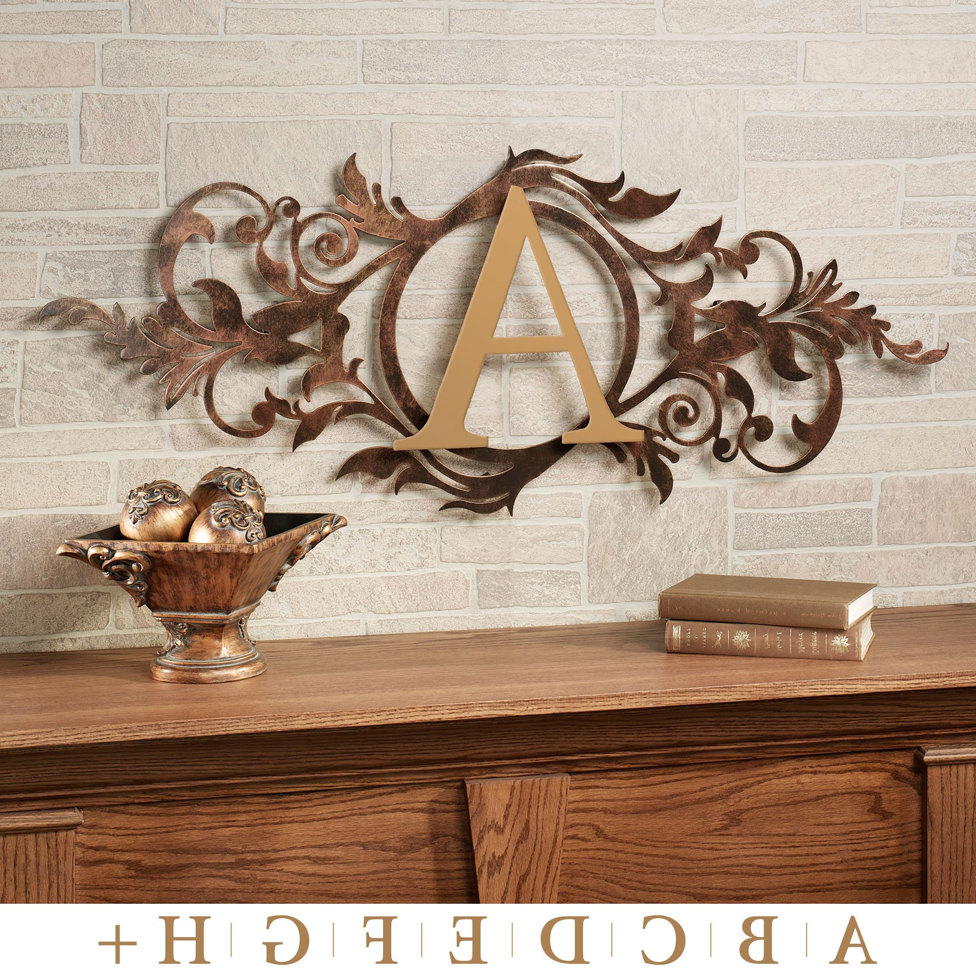 Meglynn Monogram Horizontal Metal Wall Art Sign Intended For Best And Newest Ornamental Wood And Metal Scroll Wall Decor (Gallery 20 of 20)