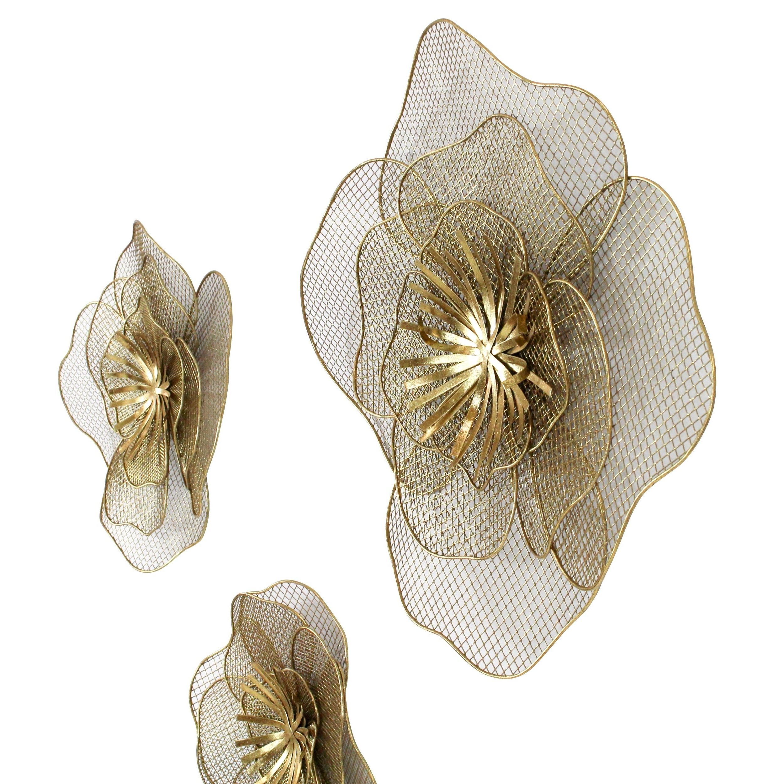 Metal Flower Wall Decor (Set Of 3) For Most Current Shop Lori Metal Flowers Wall Decor (Set Of 3) – Free Shipping Today (Gallery 10 of 20)