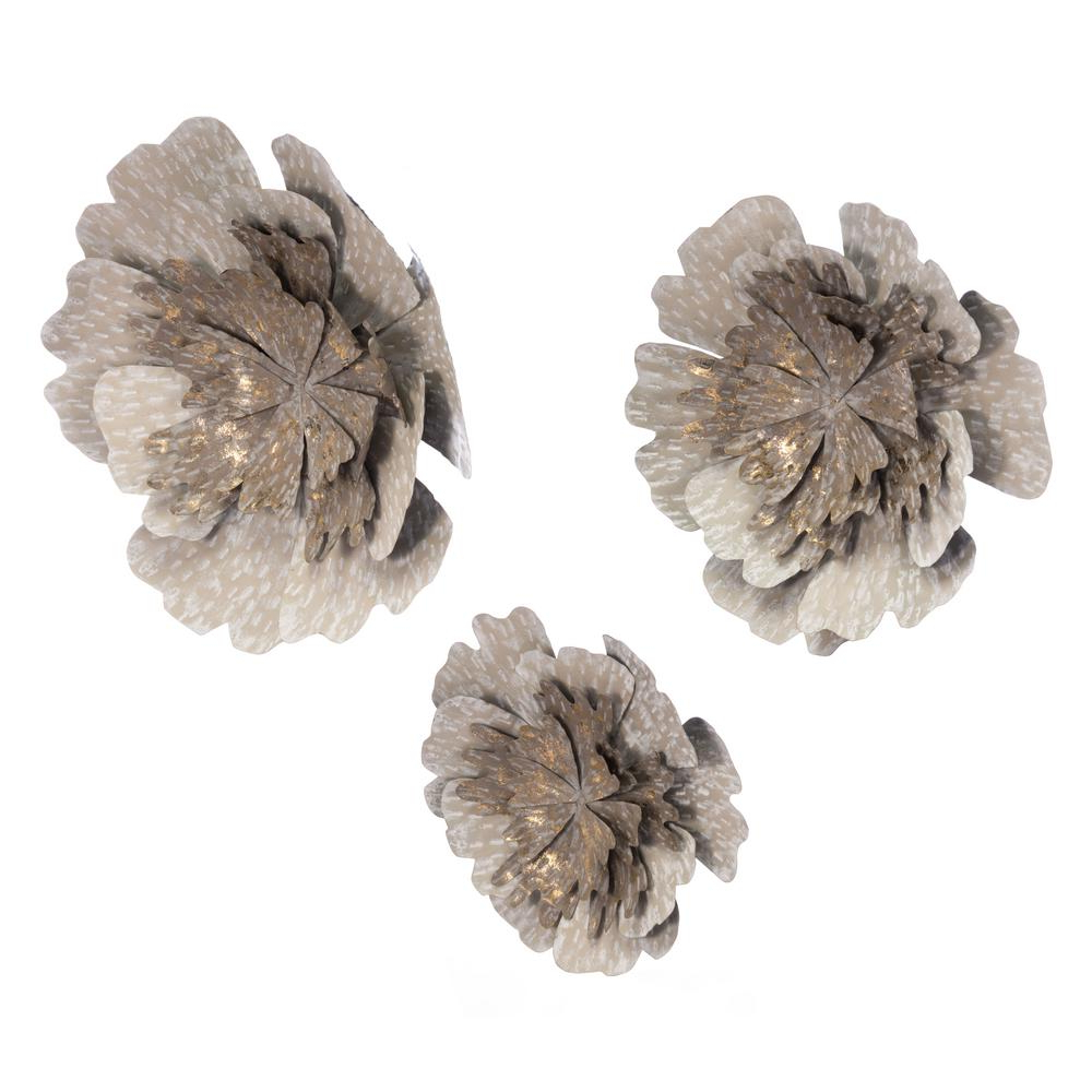 Metal Flower Wall Decor (Set Of 3) With Famous Zuo Metal Antique Flowers Wall Decor (Set Of 3) A10680 – The Home Depot (Gallery 12 of 20)