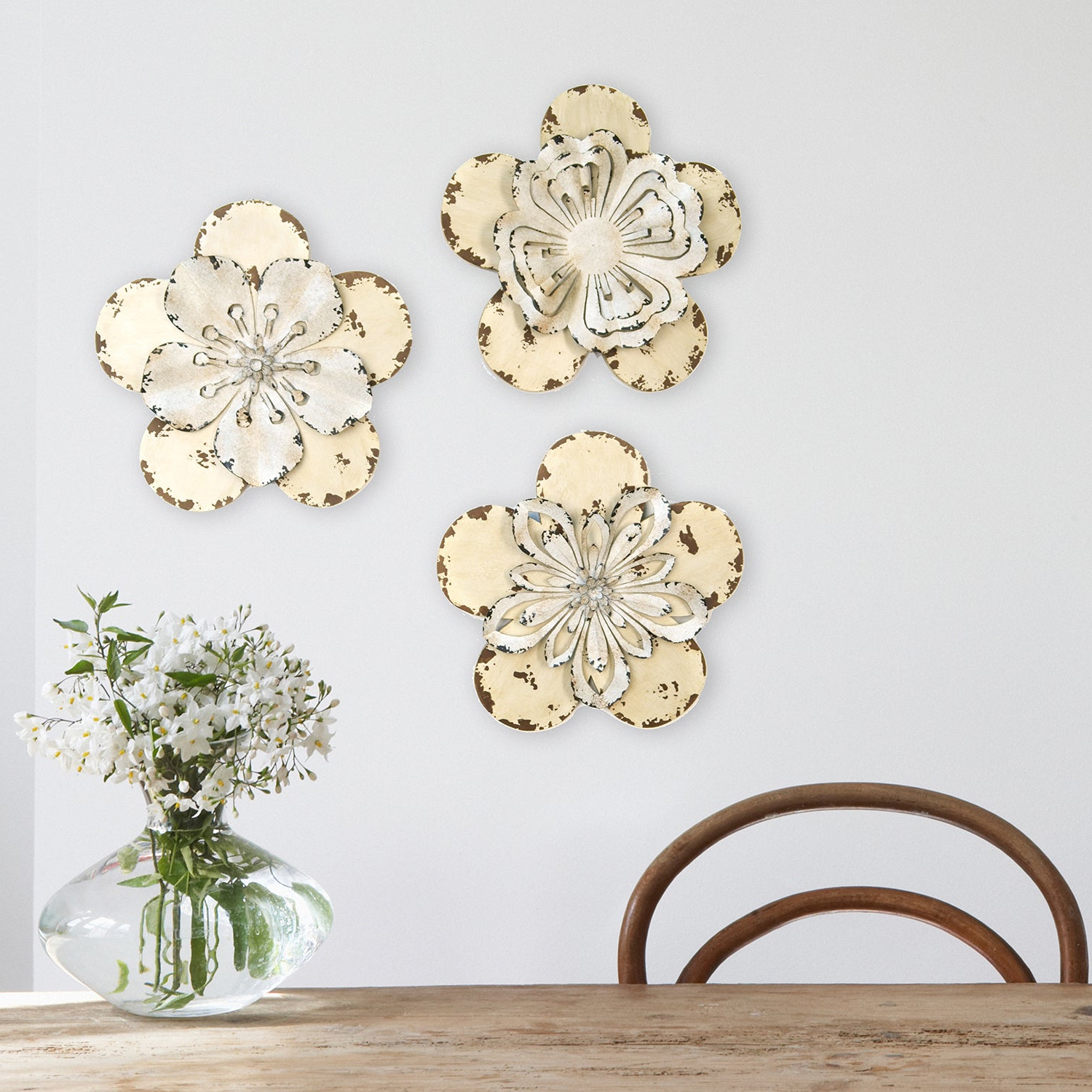 Metal Flower Wall Decor (Set Of 3) With Regard To Most Recently Released Shop Stratton Home Decor 3 Piece Set Rustic Flowers Wall Decor (View 14 of 20)