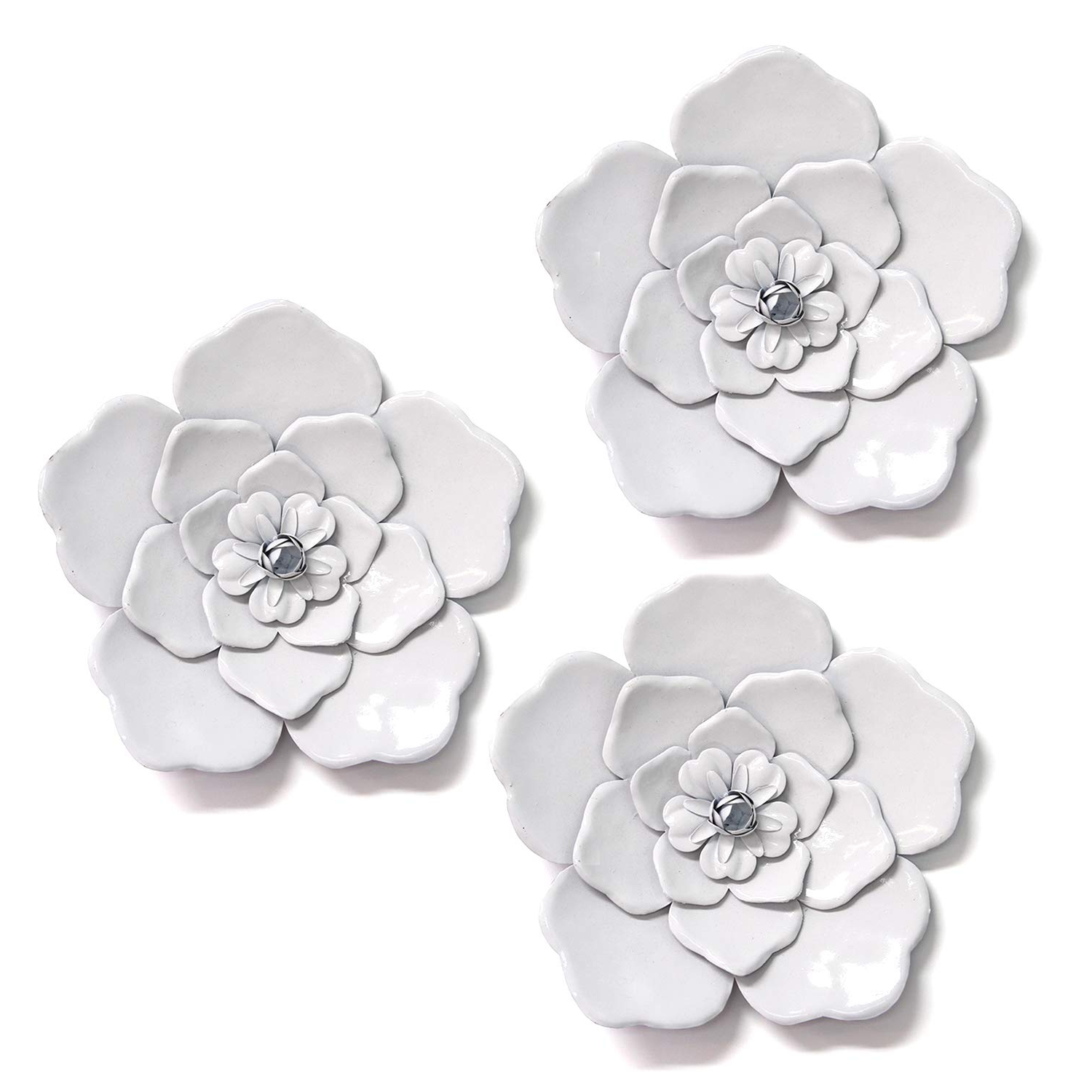 Metal Flower Wall Decor (Set Of 3) Within Well Known Amazon: Stratton Home Décor Stratton Home Decor White Metal (Gallery 19 of 20)