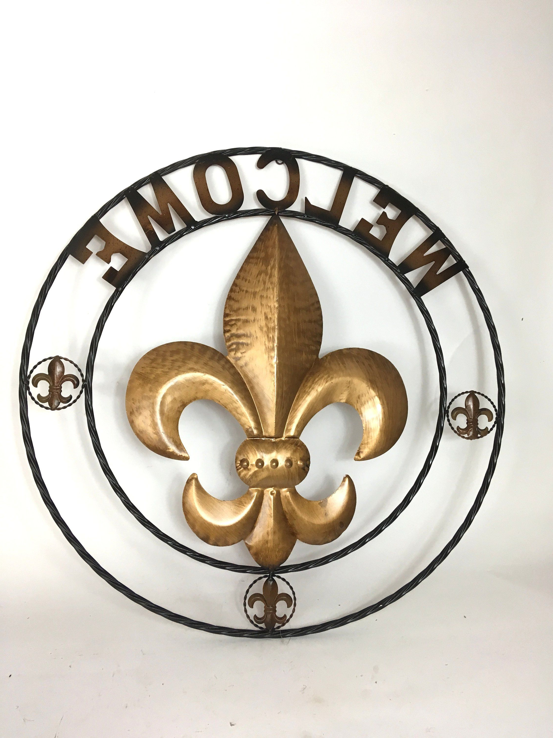 Metal Rope Wall Sign Wall Decor Intended For 2019 Welcome Fleur De Lis / Twisted Circle / Rope Ring / Wall Hanging (View 8 of 20)
