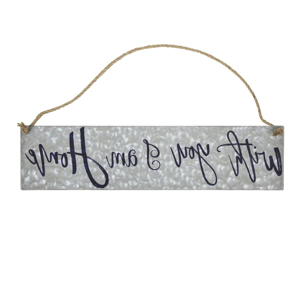 "Metal Rope Wall Sign Wall Decor Intended For Most Popular With You I Am Home"" Galvanized Metal With Rope Hanger Wall Decor (View 9 of 20)"