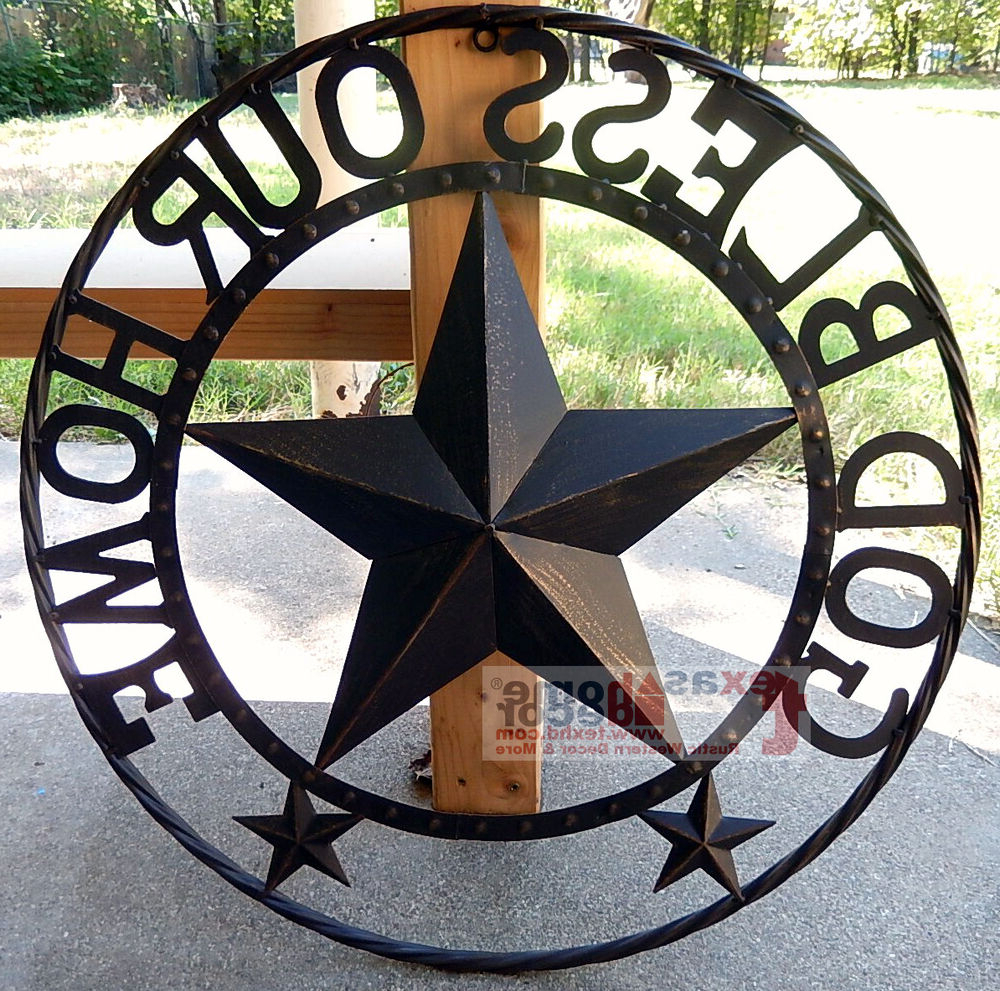 Metal Rope Wall Sign Wall Decor Pertaining To Most Popular God Bless Our Home Metal Barn Star Rustic Brown Texas Rope Ring Wall (View 11 of 20)