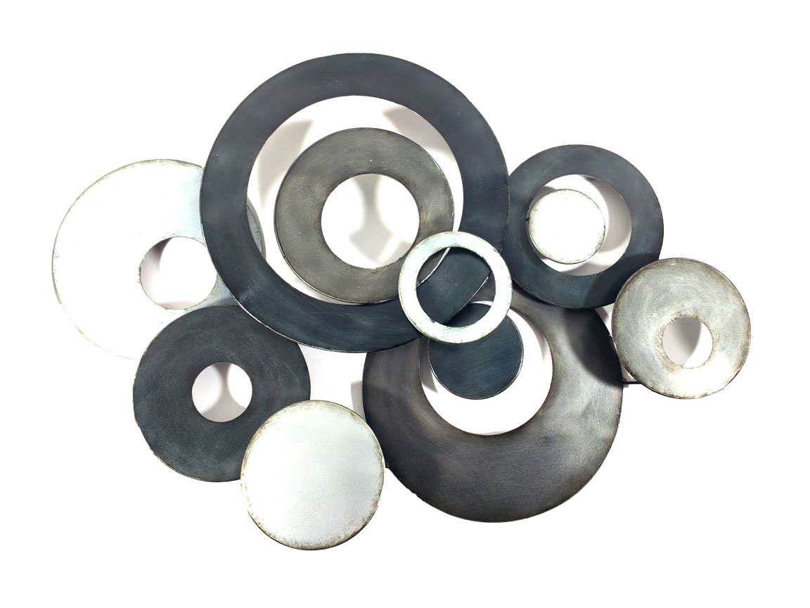 Metal Wall Art – Charcoal Linked Circle Disc Abstract For 2020 Belle Circular Scroll Wall Decor (View 12 of 20)