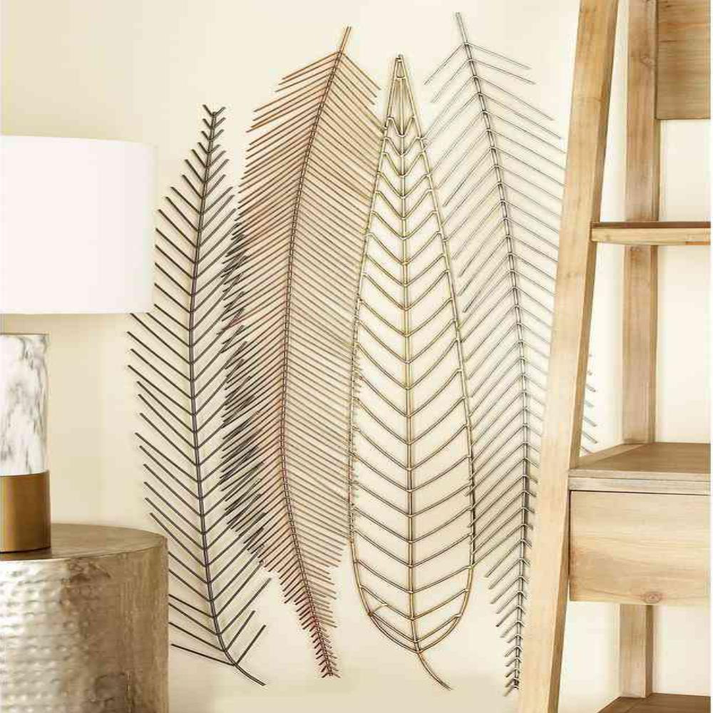 Metal Wall Decor By Cosmoliving In Fashionable Cosmolivingcosmopolitan 18 In. X 48 In. Iron Wire Feather And (Gallery 10 of 20)