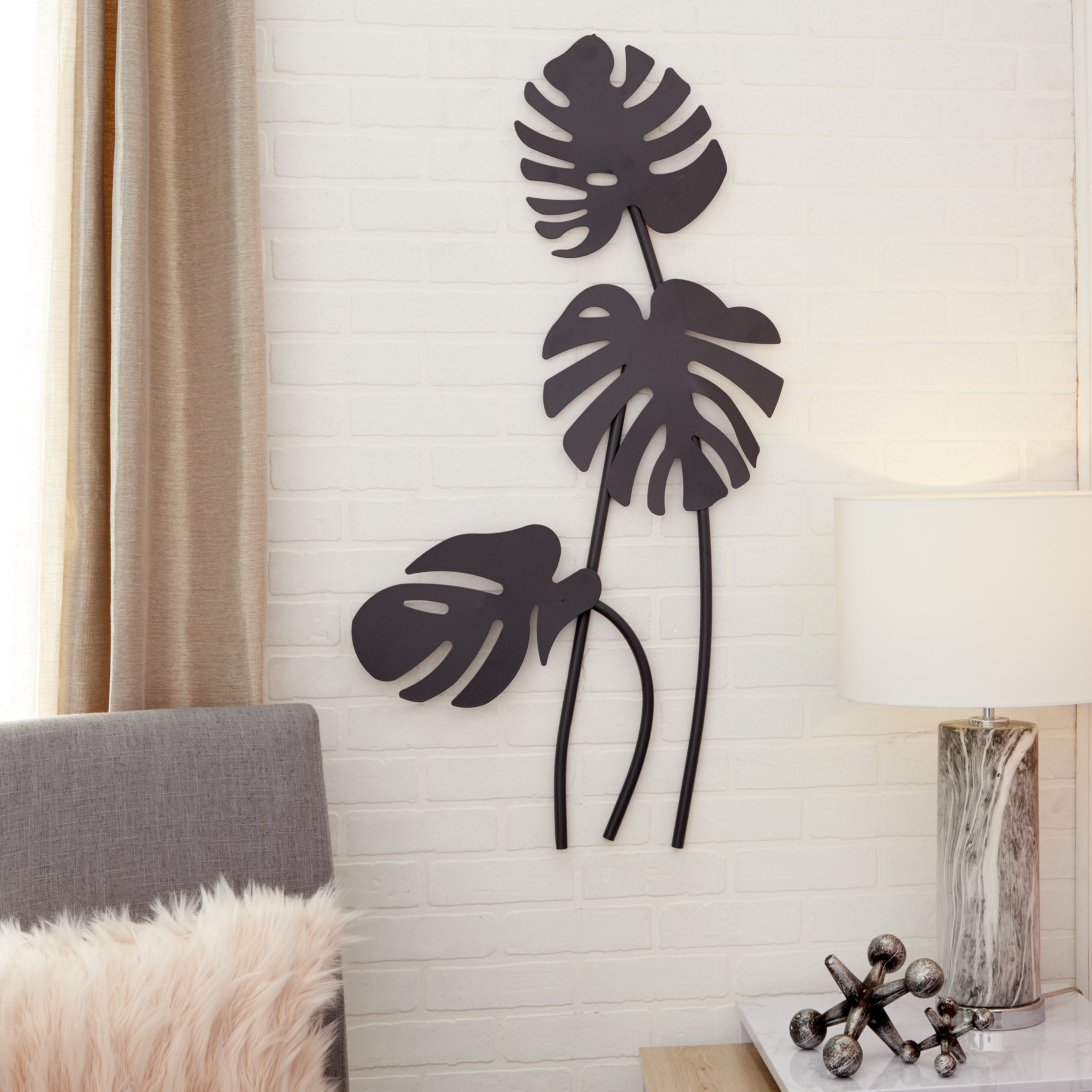 Metal Wall Decor By Cosmoliving In Favorite Cosmoliving Large Black Palm Leaf Sculptures Metal Wall Decor (View 9 of 20)
