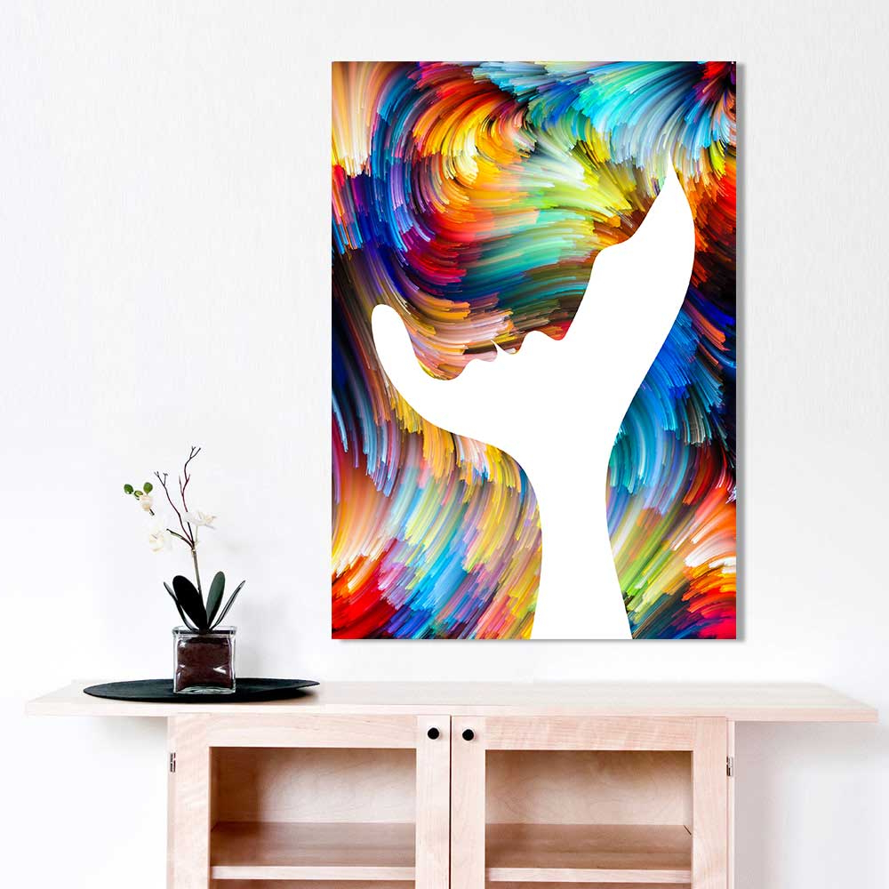 Modern Canvas Painting Wall Art Picture Abstract Figure Profile Throughout Trendy Abstract Bar And Panel Wall Decor (View 11 of 20)