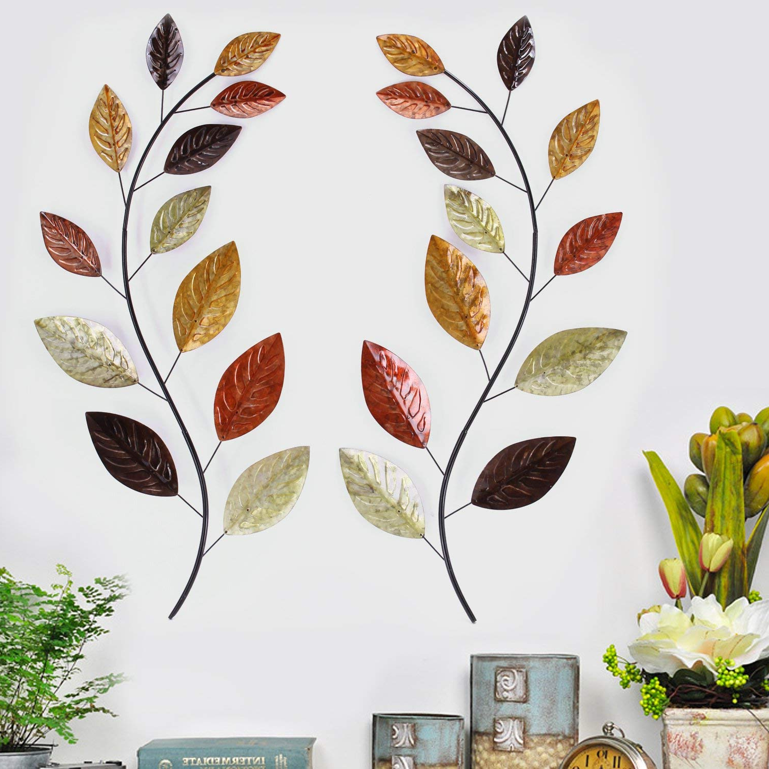 Most Current Amazon: Asense Tree Leaf Metal Wall Art Sculptures Home Decor Throughout Leaves Metal Sculpture Wall Decor (View 8 of 20)