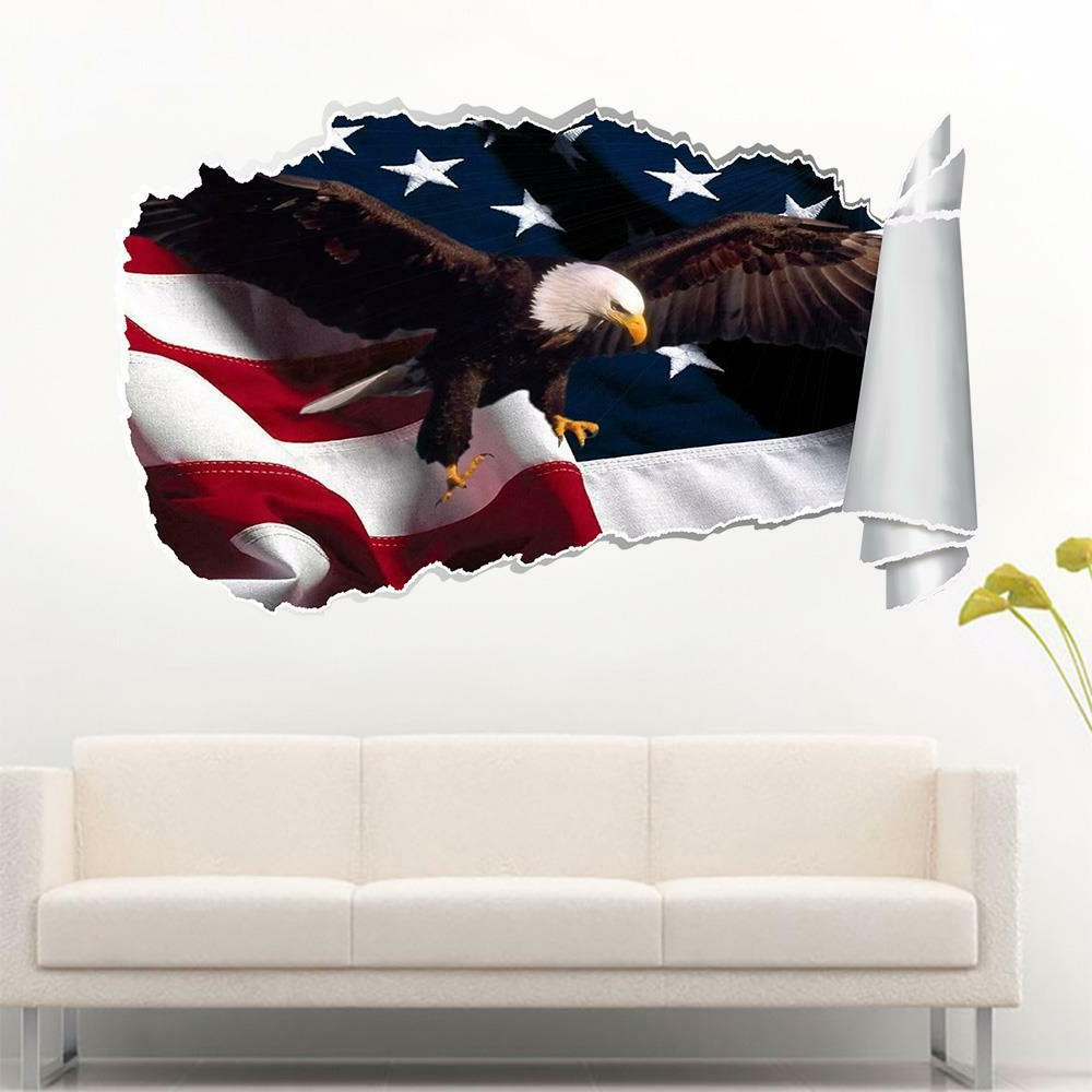 Most Current American Flag 3D Wall Decor Throughout Eagle American Flag 3D Torn Hole Wall Sticker Decal Home Decor Art (View 17 of 20)