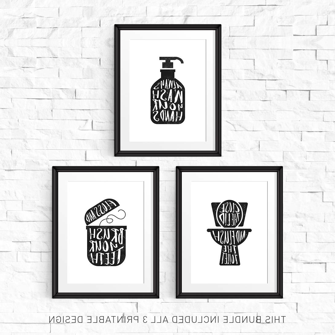 Most Current Bathroom Wall Decor Printable Sign Print Set Of 3 Flush (Gallery 10 of 20)