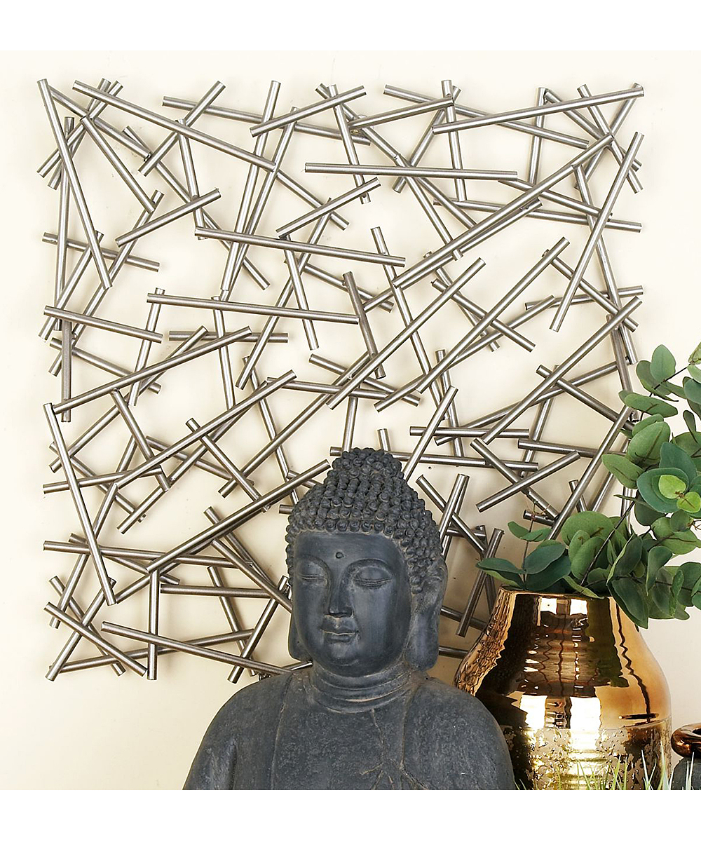 Most Current Metal Wall Decor By Cosmoliving Within Cosmolivingcosmopolitan Overlaid Bars Metal Wall Décor (View 15 of 20)