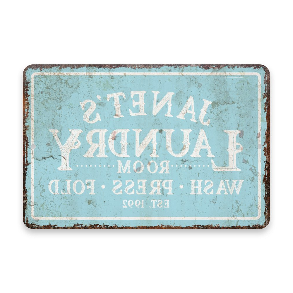 Most Current Personalized Distressed Vintage Look Kitchen Metal Sign Wall Decor With Regard To Amazon: Personalized Vintage Distressed Look Mint Laundry Wash (Gallery 5 of 20)