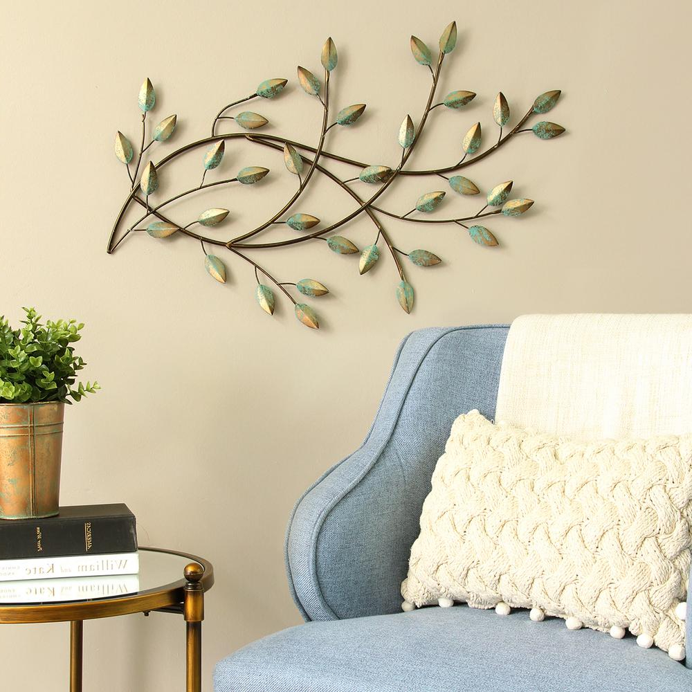 Most Current Stratton Home Decor Patina Blowing Leaves Metal Wall Decor S09581 For Leaves Metal Sculpture Wall Decor (View 9 of 20)