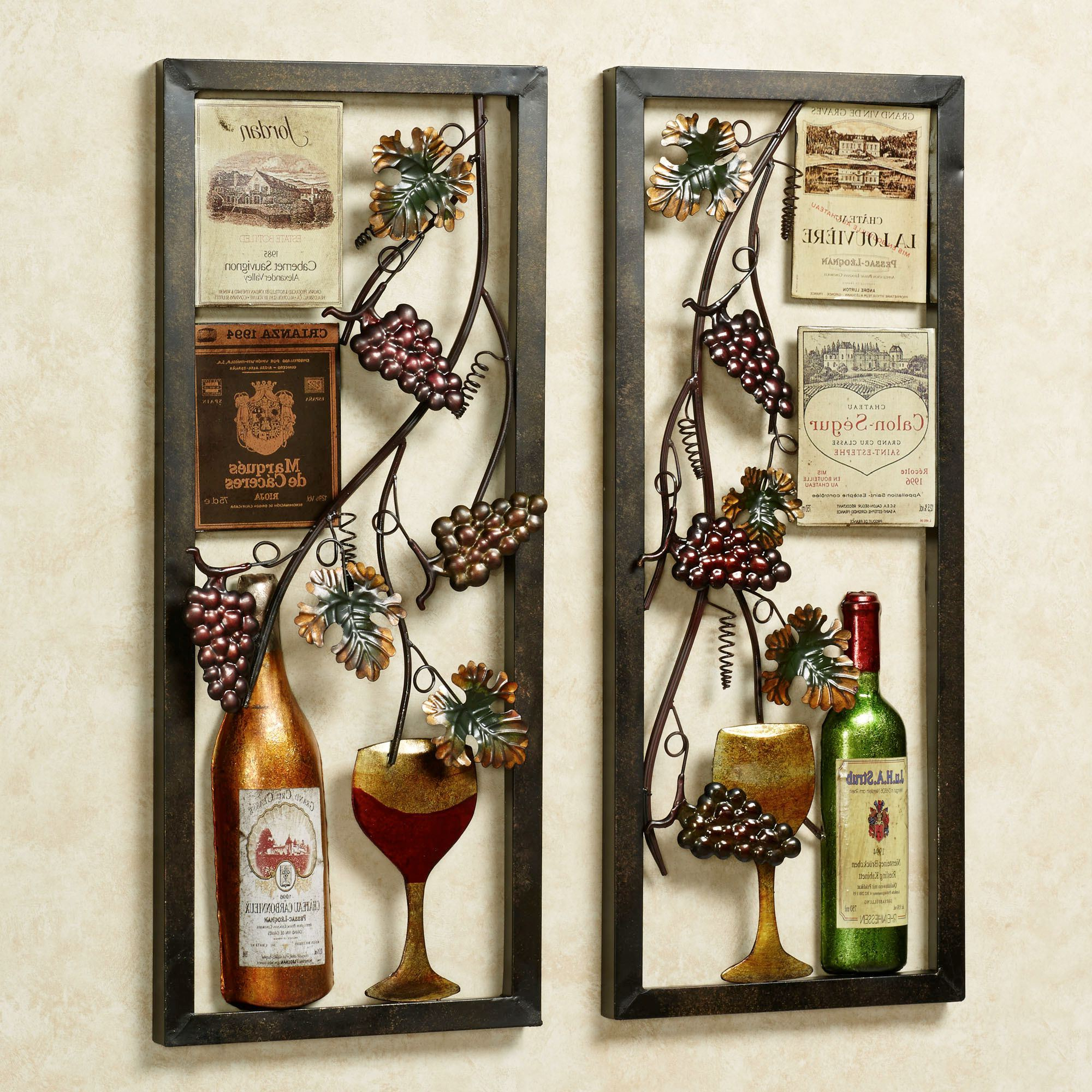 Most Current Valley Vineyard Metal Wall Art Set Within 4 Piece Metal Wall Plaque Decor Sets (Gallery 7 of 20)