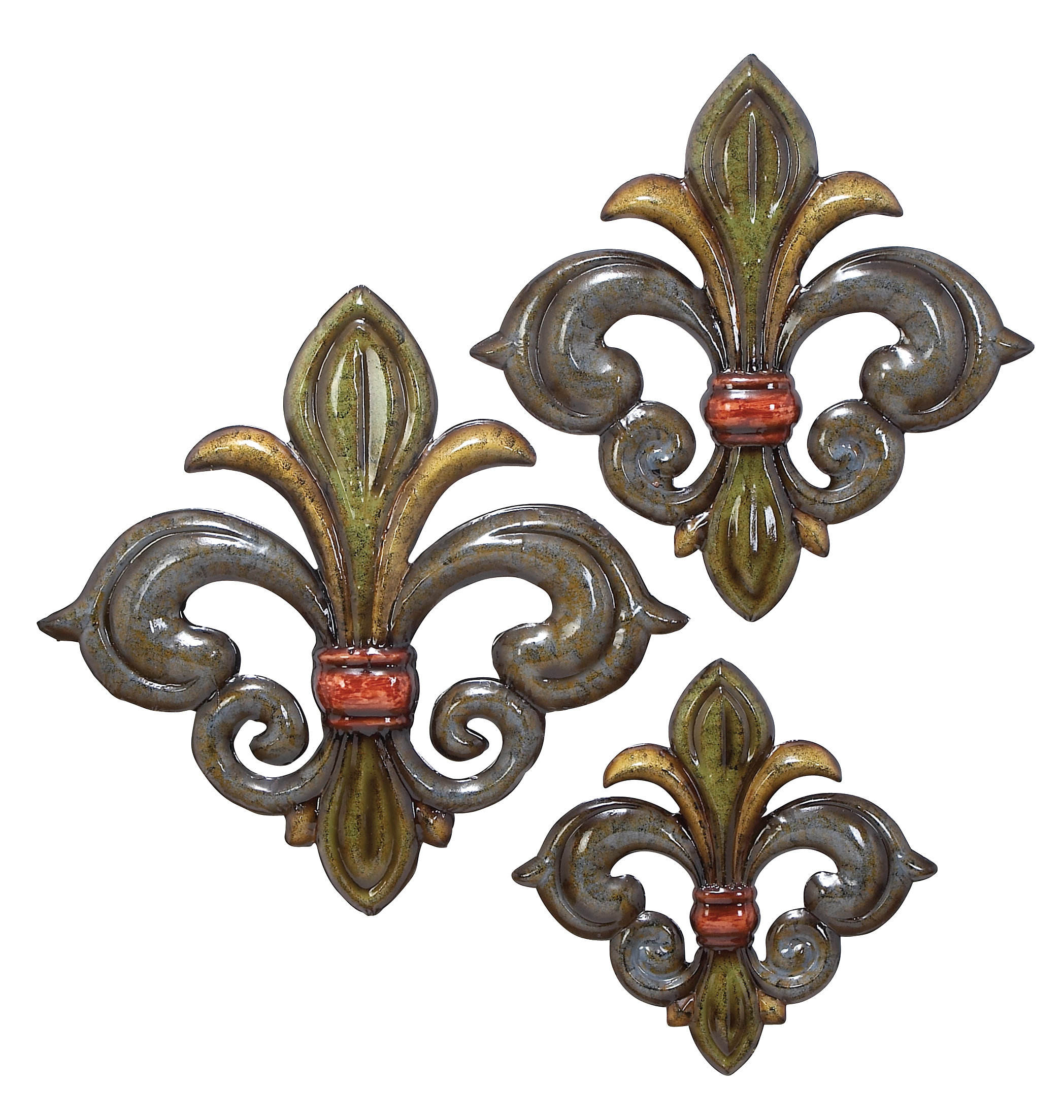 Most Current Wall Decor By Cole & Grey Throughout Cole & Grey 3 Piece Metal Fleur De Lis Wall Decor Set (Gallery 11 of 20)
