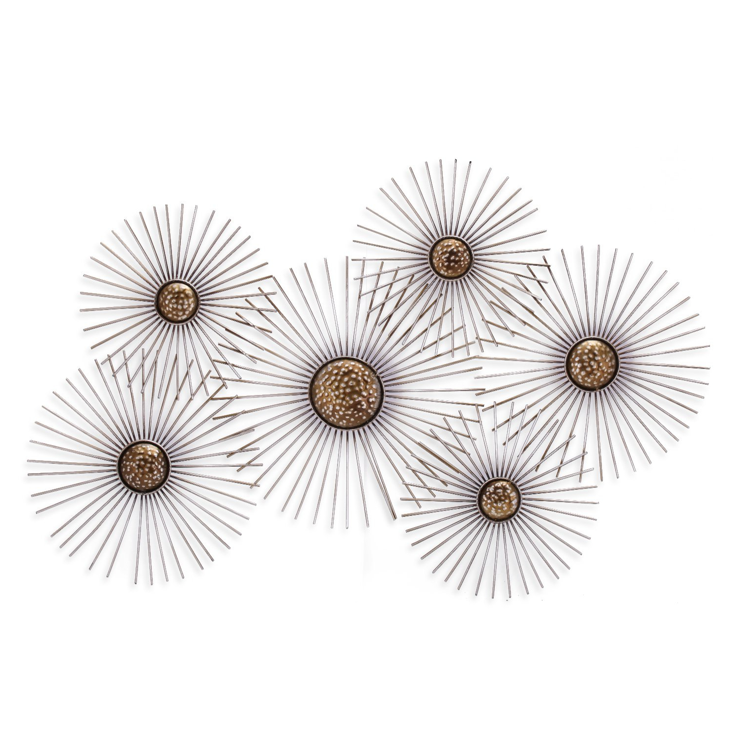 Most Popular 2 Piece Starburst Wall Decor Sets Intended For Amazon: Asense Flower Starburst Metal Wall Art Sculptures Home (View 14 of 20)