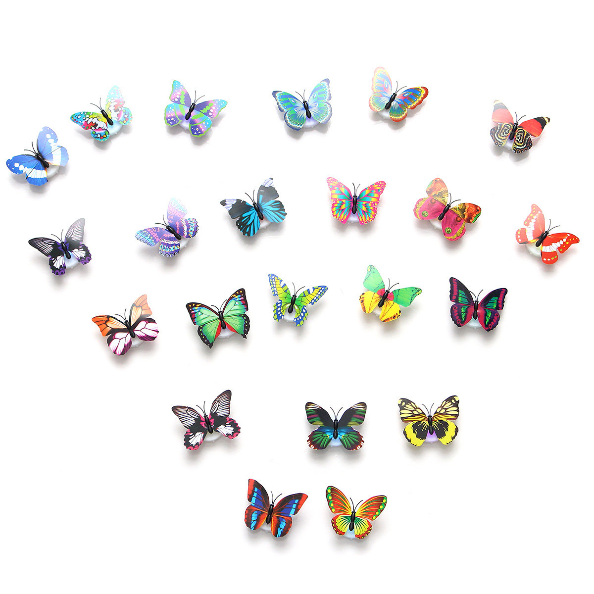 Most Popular 2Pcs Led Glowing 3D Butterfly Night Light Sticker Art Design Mural Pertaining To 3 Piece Capri Butterfly Wall Decor Sets (Gallery 9 of 20)
